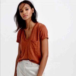 NWOT J. Crew Linen V-neck Pocket T-shirt